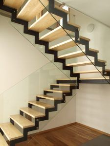 Well designed wood and glass stairs